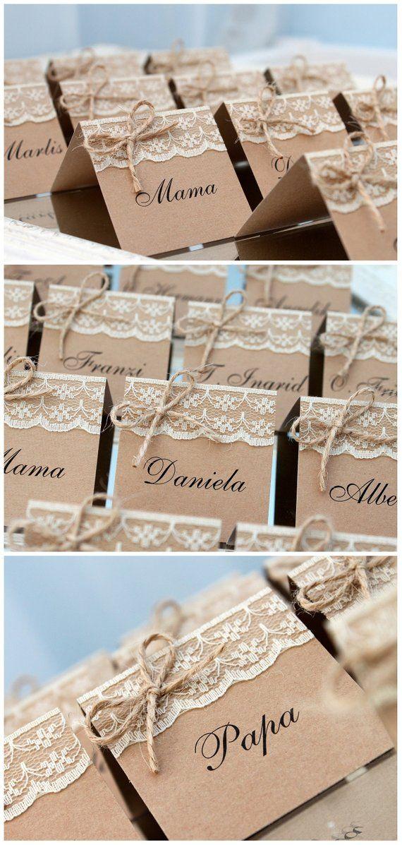 tischkarten hochzeit rustikal mit spitze, tischkarten rustikal geburtstag, tischkarten kraftpapier mit spitze, platzkarten, namenskarten #weddingfall