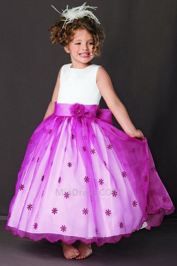 Princesse Couvert de Tulle Sans Manches Zip Robe de Cortège Fille ...