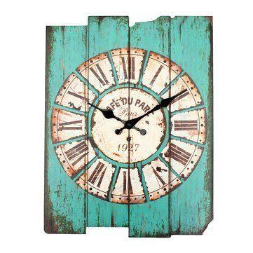 zakka vintage rustic wooden wall clock shabby home room cafe bar wall decor blue