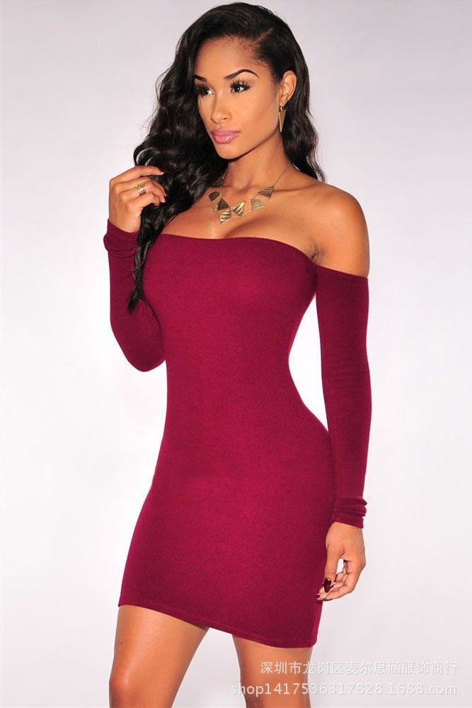 Off Shoulder Pure Color Bodycon Short Dress En 2019