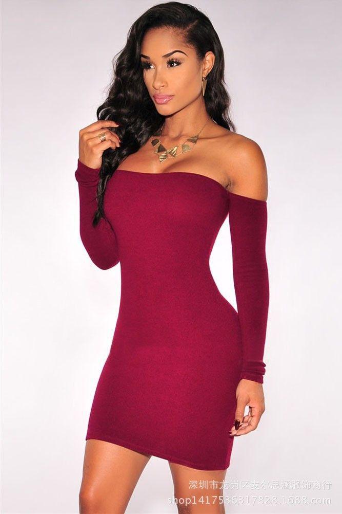 668753555e Off Shoulder Pure Color Bodycon Short Dress in 2019 | Favorite ...