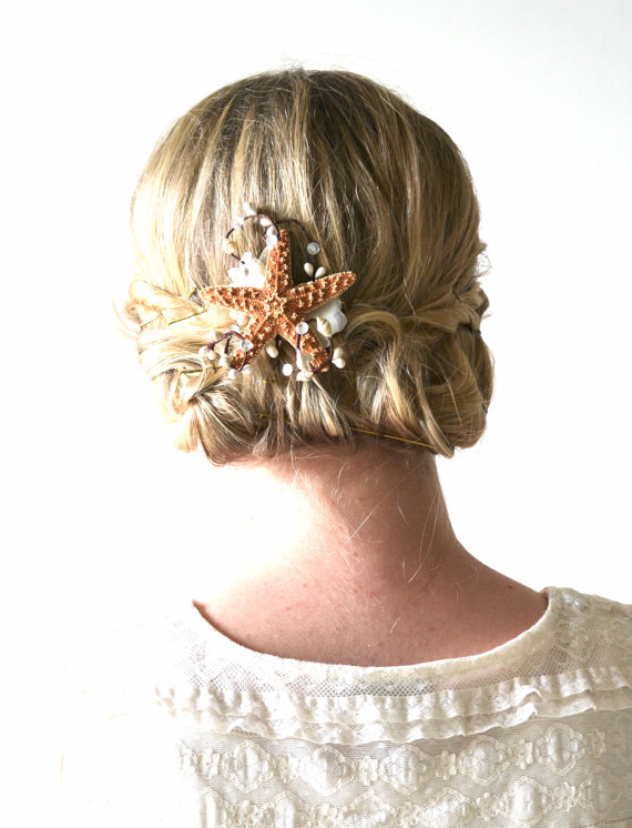 Starfish hair accessory, beach wedding hair, starfish hair ...