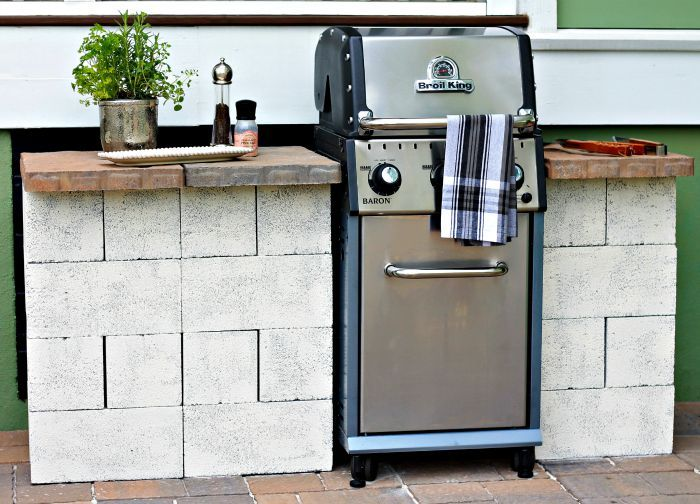 inexpensive and easy diy outdoor grill station home. Black Bedroom Furniture Sets. Home Design Ideas