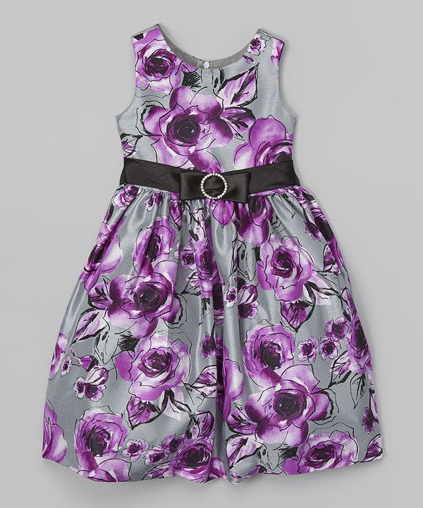Look at this Jayne Copeland Purple & Gray Floral Dress - Toddler & Girls on #zulily today!