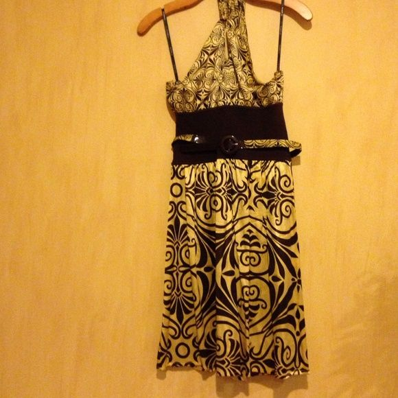 Dress Silk dress with belt , open in the back bebe Dresses
