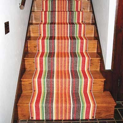 Best Diy Low Cost Stair Runner For The Basement Stairs 400 x 300