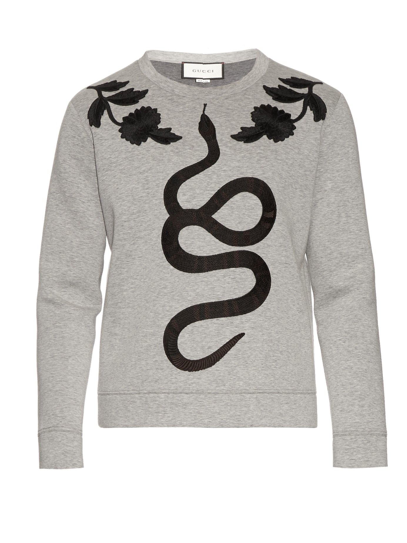 GUCCI Snake-appliqué cotton-jersey sweatshirt  6ffc0749a83c