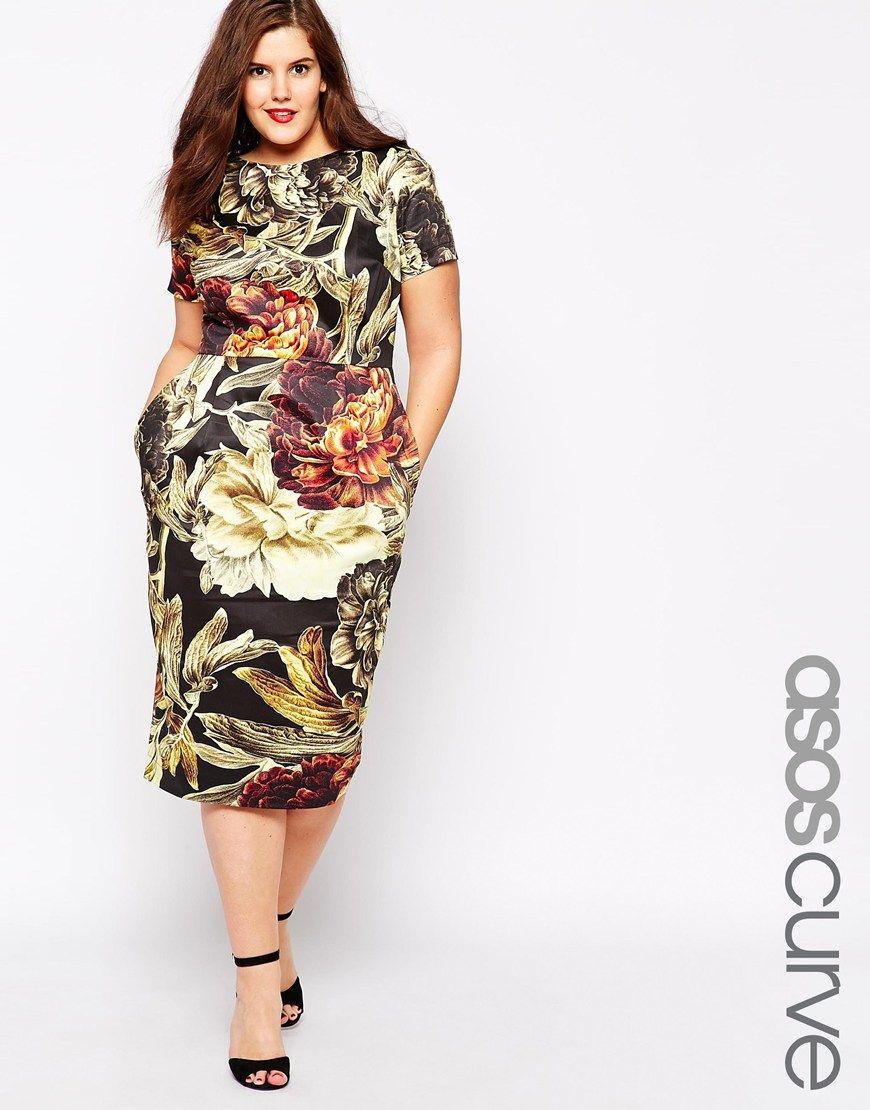 92b765734e9 ASOS CURVE Wiggle Dress in Big Floral