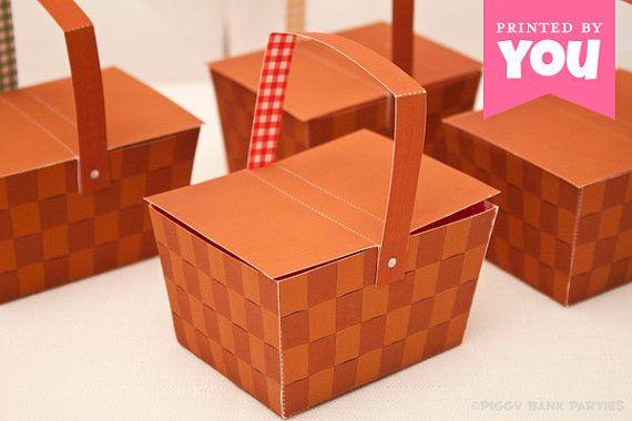 picnic basket favor box full color digital template print at