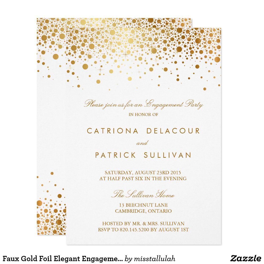Faux Gold Foil Elegant Engagement Party Invitation – Elegant Engagement Party Invitations