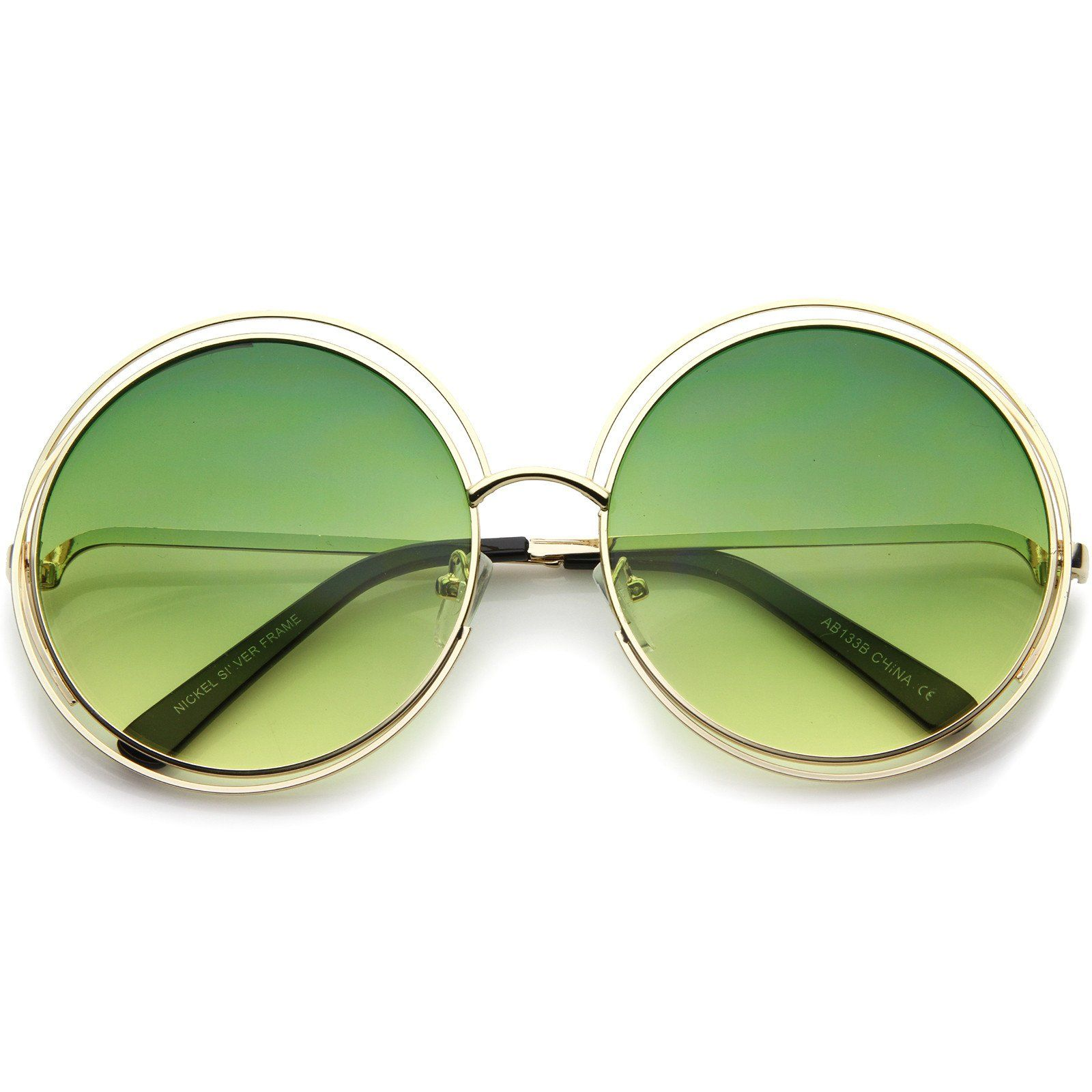 1619e25b77 Oversize Wire Frame Gradient Two-Tone Color Lens Round Sunglasses 61mm