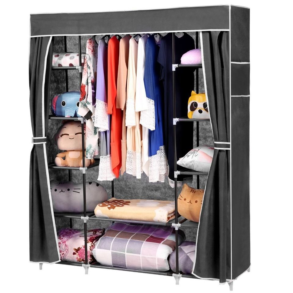 Jingcui Steel Wardrobe With Cover And Side Pockets And Clothes Rods