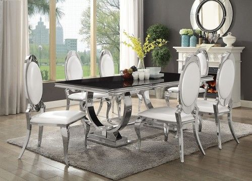 5 PC Antoine Stainless Steel Dining Room Table Set 107871-AS