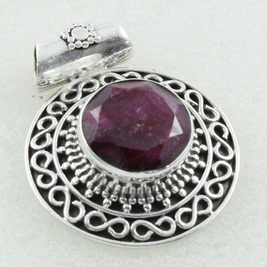 RUBY AGATE STONE DELICATE DESIGN 925 STERLING SILVER PENDANT #SilvexImagesIndiaPvtLtd #Pendant