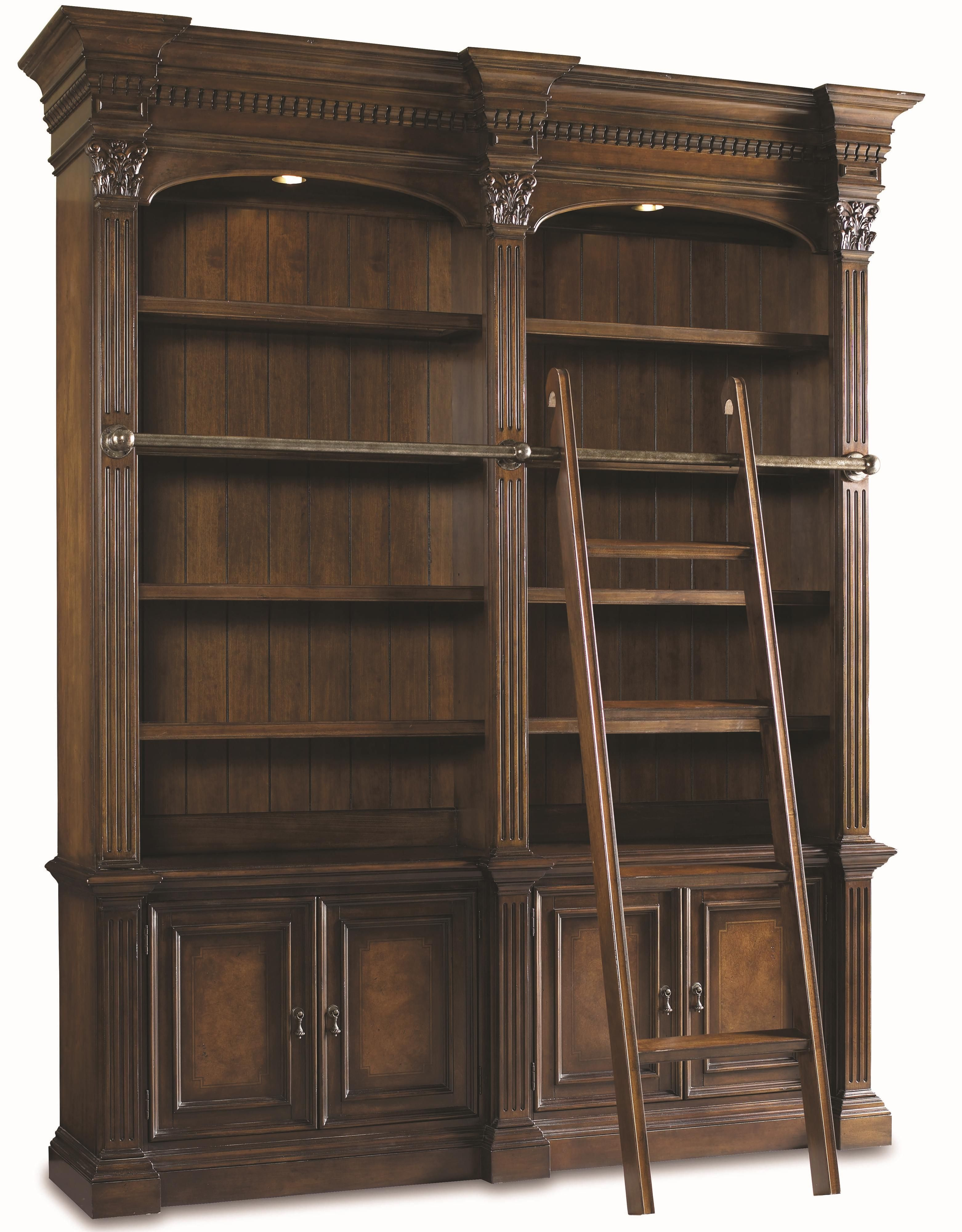 Chateau bookcase walnut leaning bookcase white modern bookcase walnut - Hooker Furniture European Renaissance Ii Double Open Bookshelf W Ladder Ahfa Open Bookcase