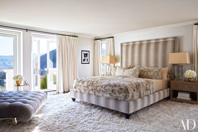 The Master Suite In Khloé Kardashianu0027s Calabasas, California, Home Designed  By Martyn Lawrence Bullard Features A Bespoke Bed Upholstered In A Colefax  And ...