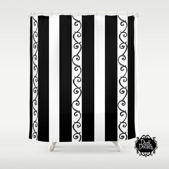 Tim Burton Style Shower Curtain   Goth Style Bathroom Decor   Original  Design  Stripes And Swirls   Dark Decor