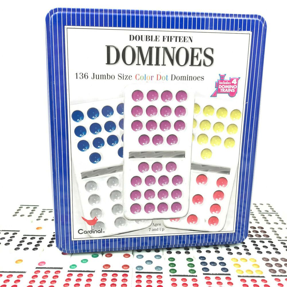 Double 15 Dominoes By Cardinal In Tin 136 Colored Dot No Trains Or Instructions Cardinalindustries Playing Card Games Vintage Board Games Domino Games