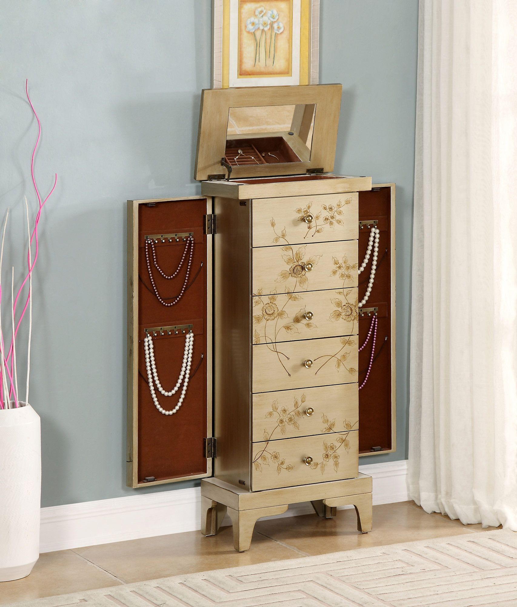 Jewelry Armoire in Gold | Coast to Coast Imports | Home Gallery ...