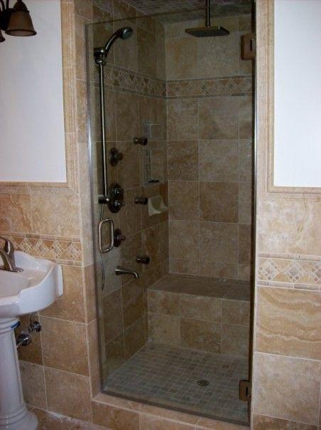 single frameless glass shower door | new home bathrooms | Pinterest ...