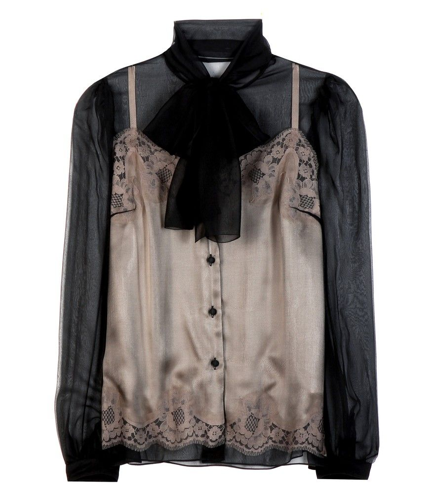 Dolce & Gabbana - Silk blouse - Opt for the sheerest and most lightweight of silks with Dolce & Gabbana's black silk blouse. Spun in Italy, this piece features gathered, cuffed sleeves and an elegant pussy bow. The peach-hued camisole beneath is sewn onto the overlaying fabric lending the button placket a unique illusion of floating. seen @ www.mytheresa.com