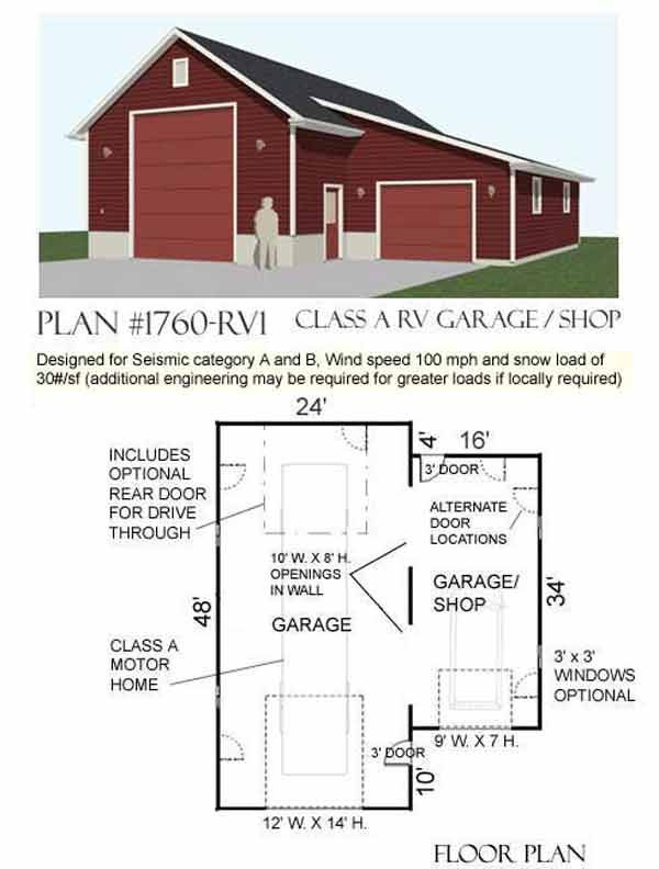 Automotive Lift One Story Garage Plans D No 1760 Rv1 40 X 48 By