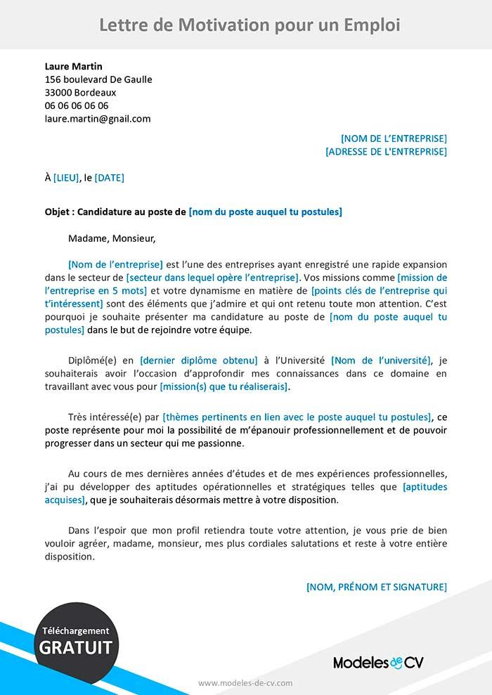 Modele De Lettre De Motivation Pour Un Emploi Telecharger Gratuit Learn French Curriculum Job