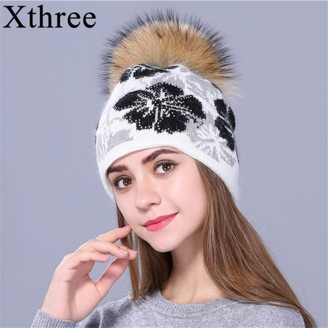 536b21234ca  Xthree real Raccoon fur pom poms knitted beanie winter hat for women and  girl hat thick female Rabbit fur wool cap