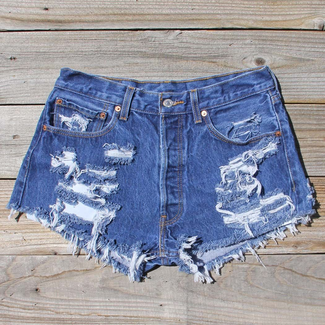 Vintage Distressed Jean Shorts, Sweet Bohemian Inspired Vintage Clothing