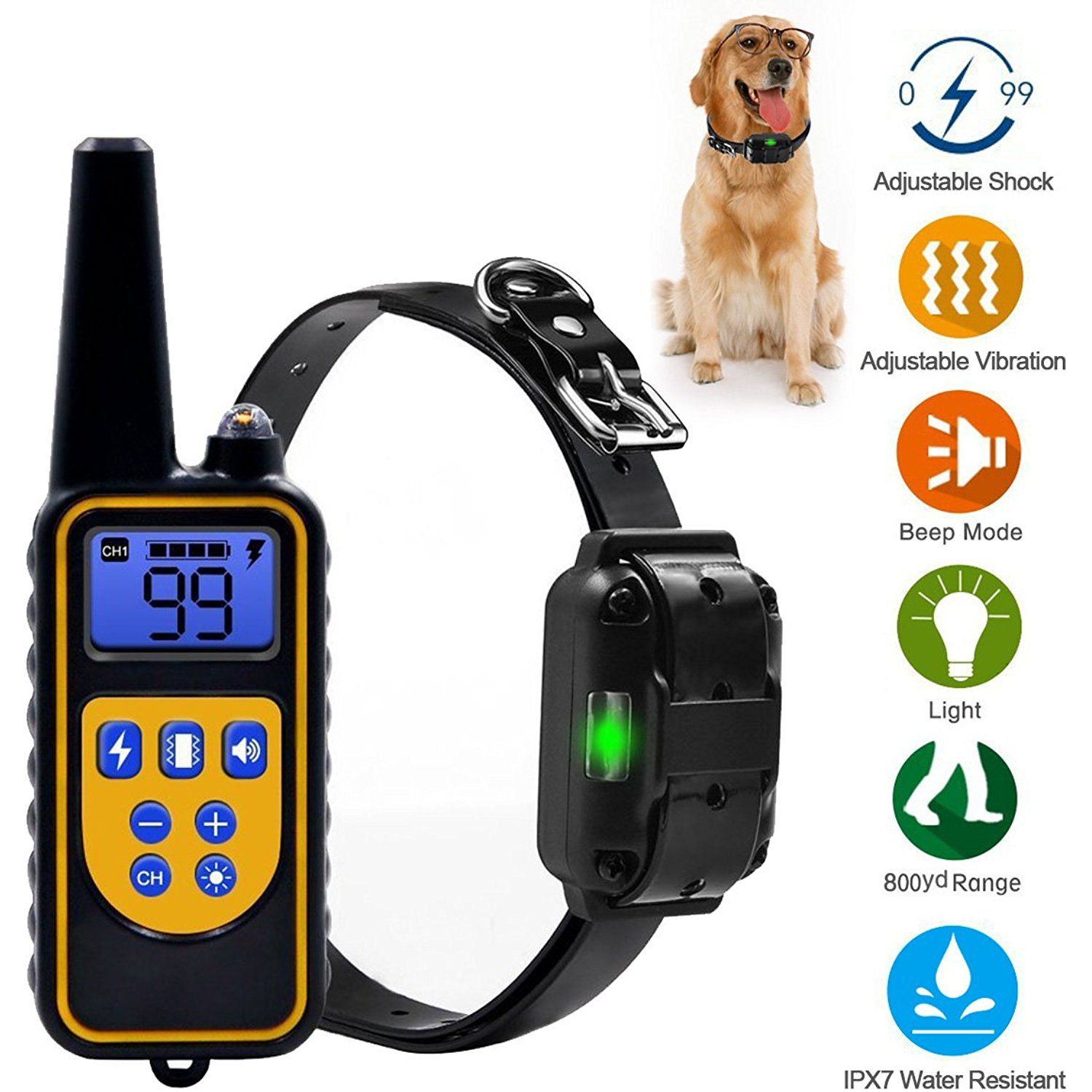 Yipet 800 Yards Range Remote Dog Training Collar Rechargeable And