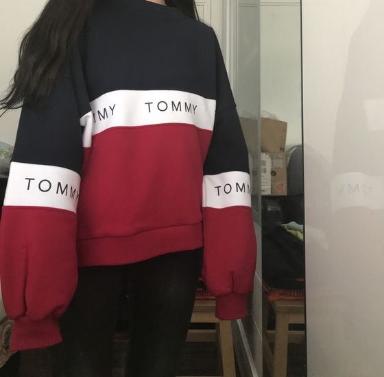 Womens Tommy Jeans Tri Colour Sweatshirt Crew Sweater Long