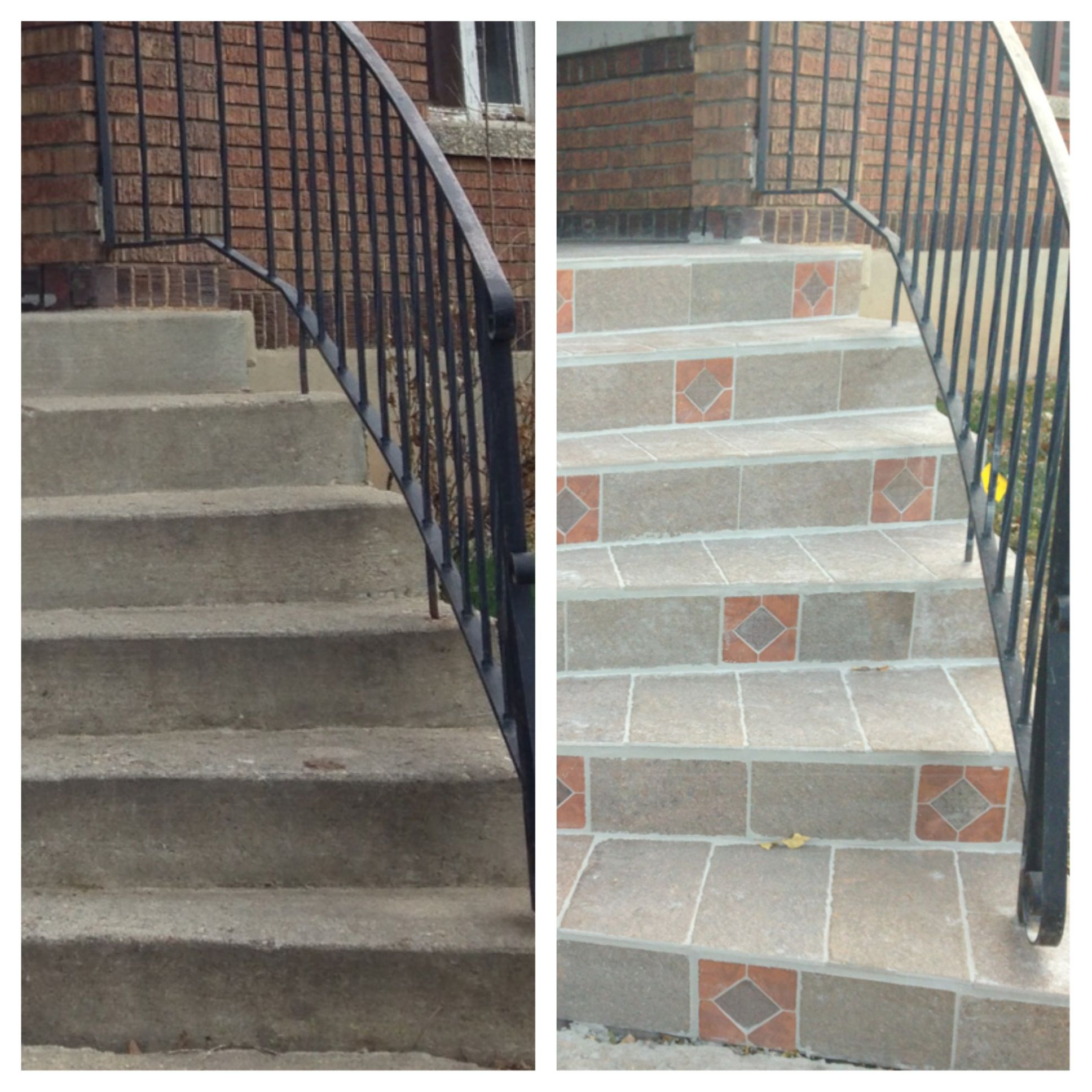 Best Before And After Of Front Steps Outdoor Tile From Lowes 400 x 300