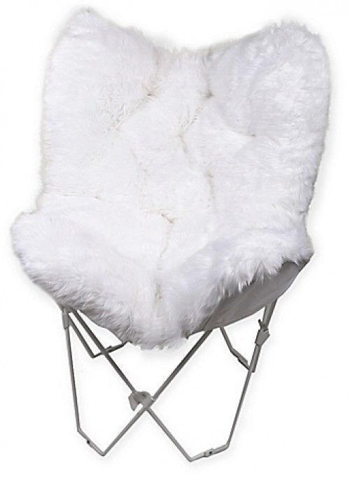 Swell White Faux Fur Butterfly Chair Chic Accent Decor Cushion Theyellowbook Wood Chair Design Ideas Theyellowbookinfo