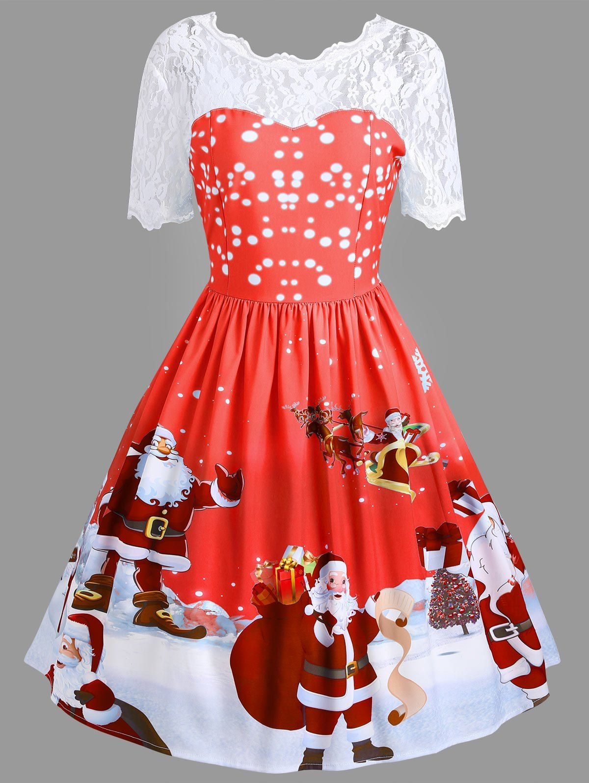 4bd006700859 Vintage Christmas Lace Insert Santa Claus Print Dress | LOL ...