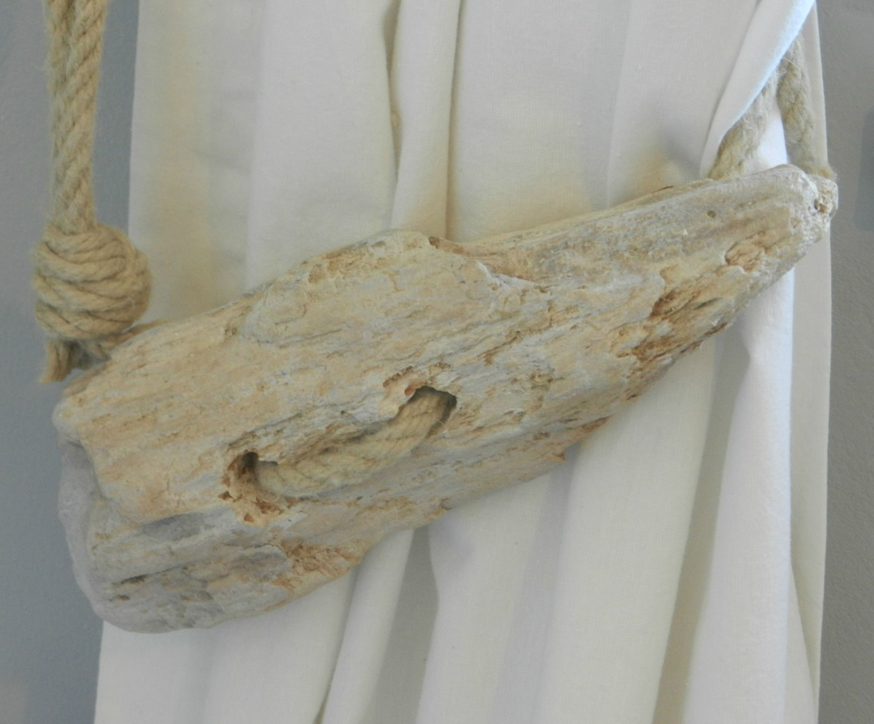 Embrase De Rideau pour paire d'embrasses pour rideaux en bois flotté, corde et portes
