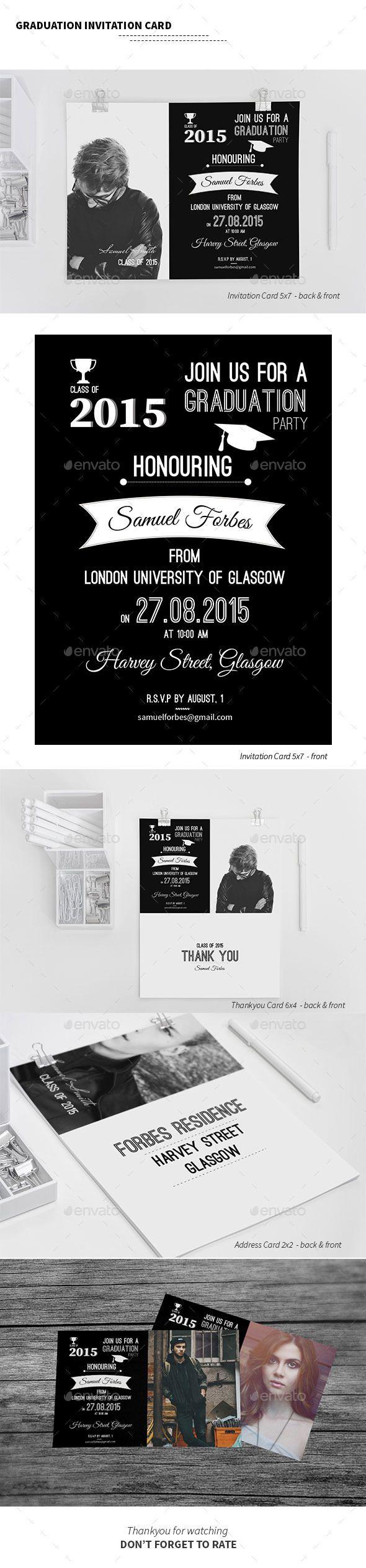Graduation Invitation Card   Graduation invitation cards, Font logo ...