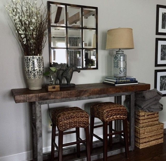 40 Rustic Living Room Ideas To Fashion Your Revamp Around: Pottery Barn Reclaimed Wood Console Table With Stools In