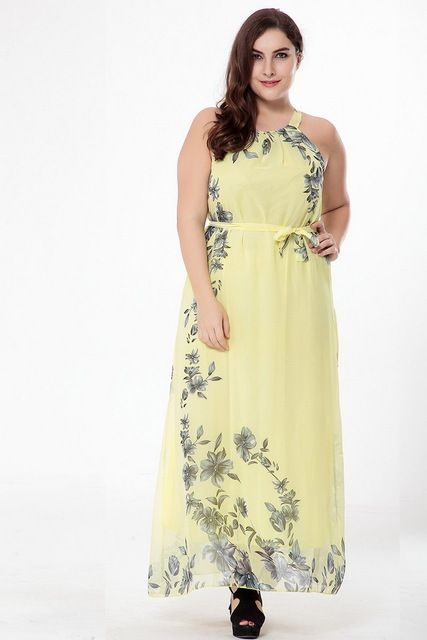 822faaa7798 T O Summer Plus Size Loose 4XL 5LX 6XL Chiffon Floral Print Bohemia Boho  Maxi Floor Beach Dress Party Club Vacation Dress 507 - Yellow