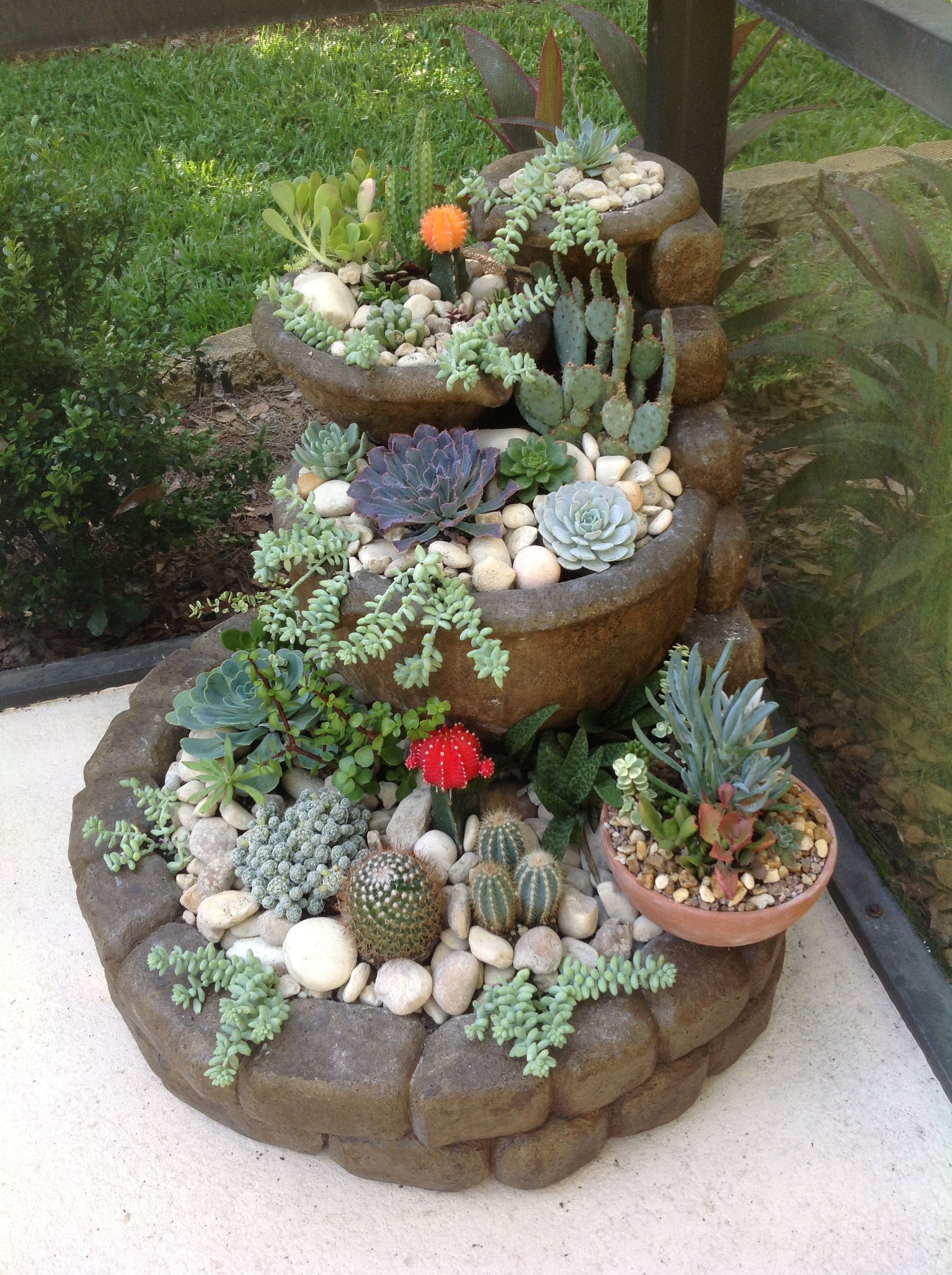 Cactus Garden....stacked Patio Stones And Matching