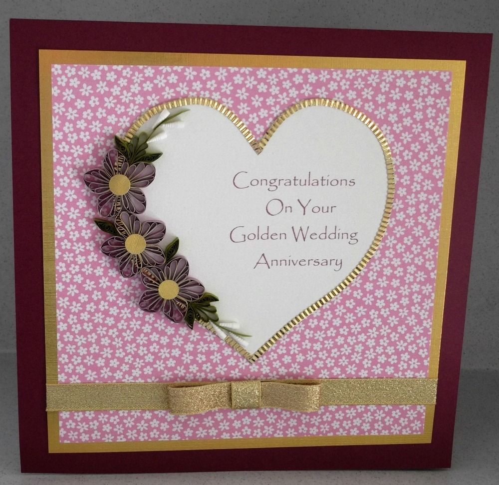 Part 1 Of Daisy Paper Quilling Golden Wedding Card