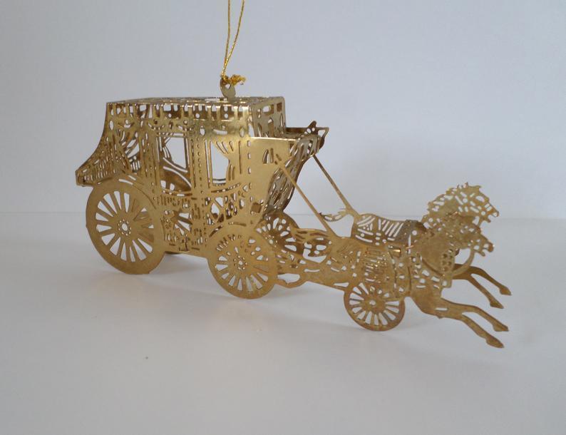 Vintage brass stagecoach ornament western ornament | Etsy