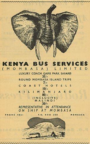 Kenya Bus Services Ad 1962