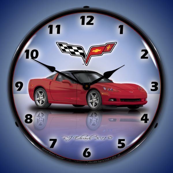 C6 Corvette Crystal Red Led Lighted Wall Clock 14 X 14 Inches Wall Clock Light Custom Clocks Wall Clock