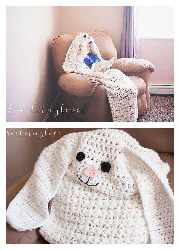 Crochet Bunny Blanket Free Patterns | Deckchen, Kapuze und Osterhase