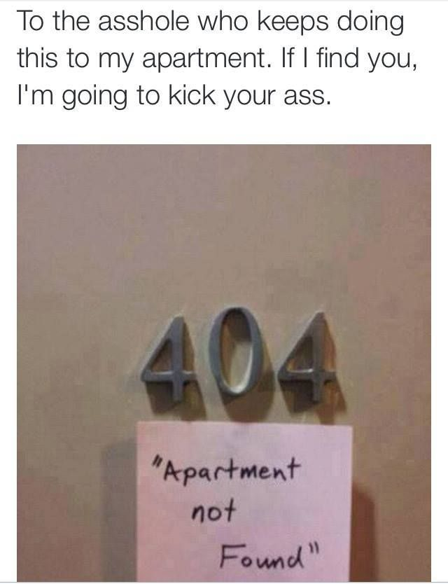 Apartment 404 Not Found #404, #Address, #Funny