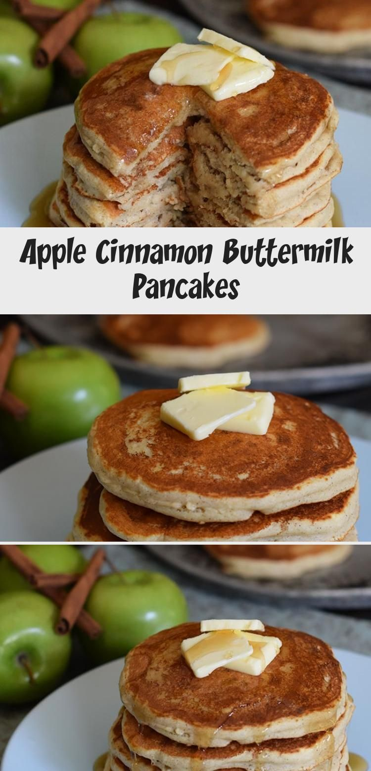Breakfast Is Served With Fluffy Apple Cinnamon Buttermilk Pancakes Made With Ap Breakfast In 2020 Cinnamon Apples Buttermilk Pancakes Cinnamon French Toast Bake