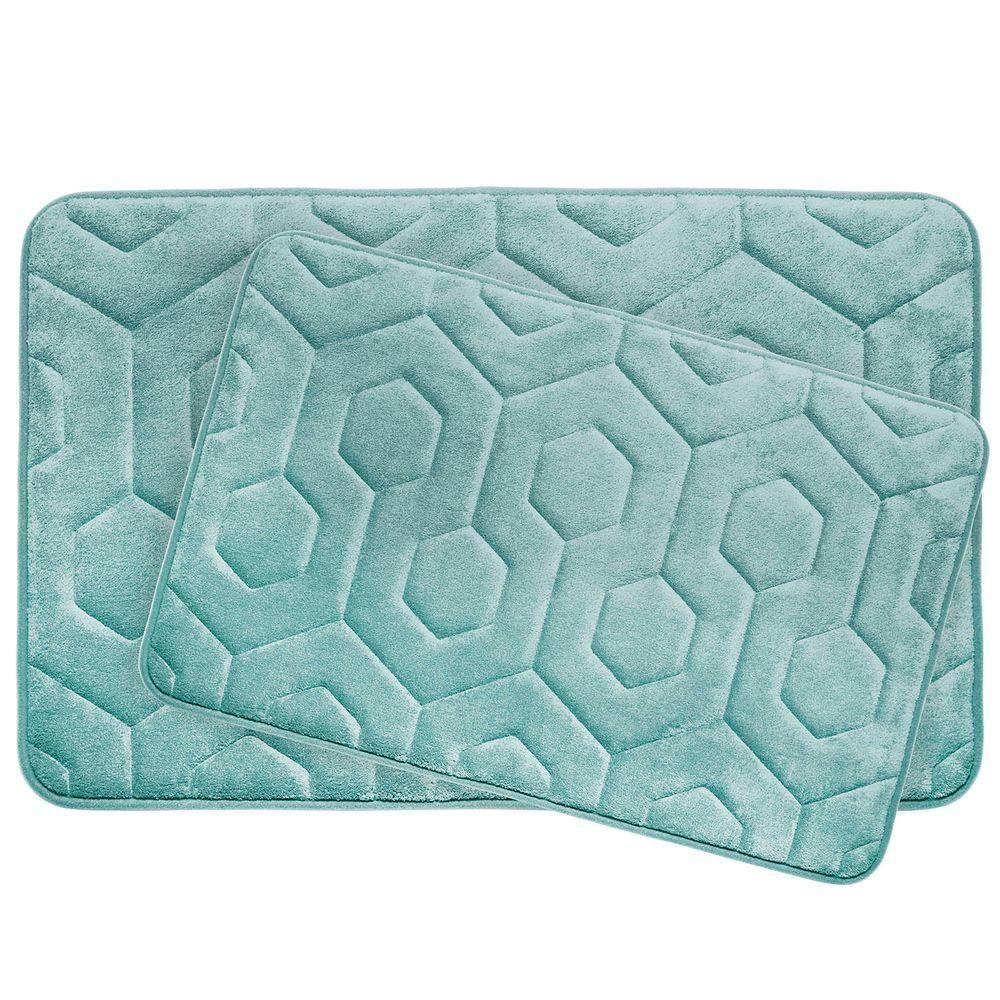 Bouncecomfort Hexagon Aqua 17 In X 24 In Memory Foam Bath Mat Set 2 Piece Ymb002775 The Home Depot Bath Mat Sets Memory Foam Bathroom Rug Memory Foam Bath Mat Set [ 1000 x 1000 Pixel ]