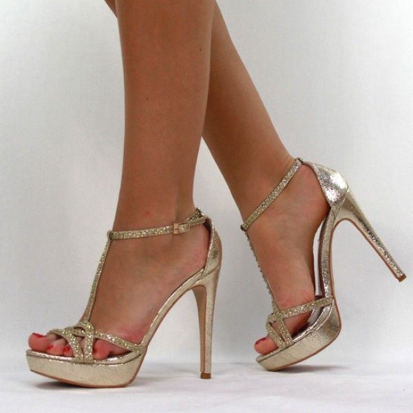 81c0469f4c0c07 Jumex High Heels Pumps Glitzer Strass gold B9391 | Skor | Elegante ...
