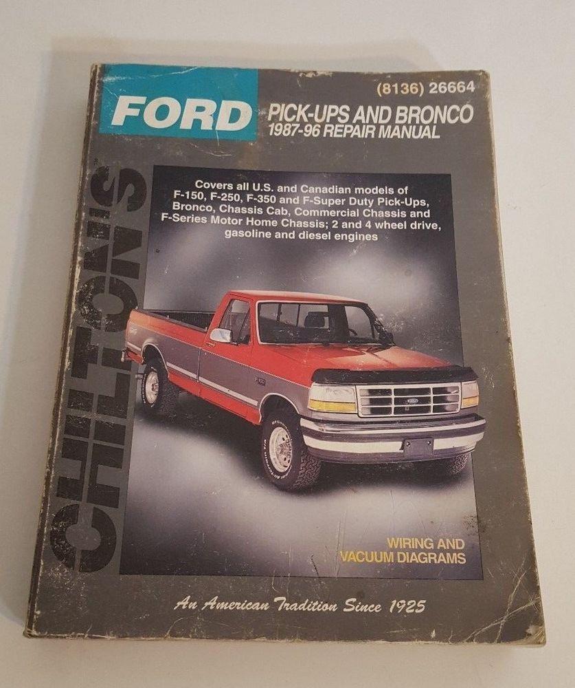 Repair Manuals Ford 1996 F350 Diesel 7 3 Engine Diagram Chilton Pick Ups And Bronco Manual 1987 96 Wiring Gas Rh Pinterest Com 2018 Ram 3500