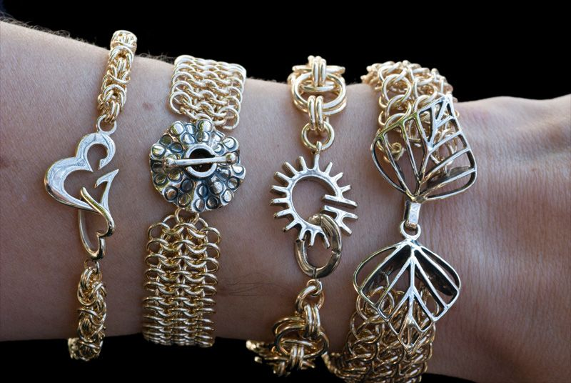 Chain Mail Bracelets. Magnificent clasps from friend Kim Fox from Handfast Designs